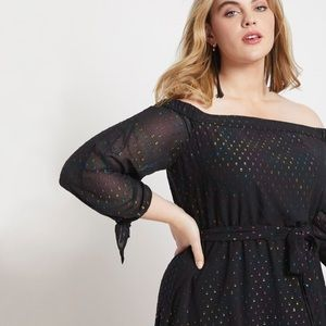Eloquii Off the Shoulder Dress with Tie Sleeves